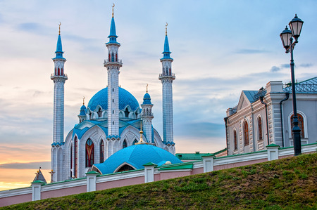 Summer sunset over a mosque Kul Sharif, Kazan, Russia