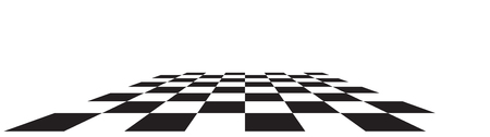 Illustration pour Checkerboard, chessboard, checkered plane in angle perspective. Tilted, vanishing empty floor. - image libre de droit