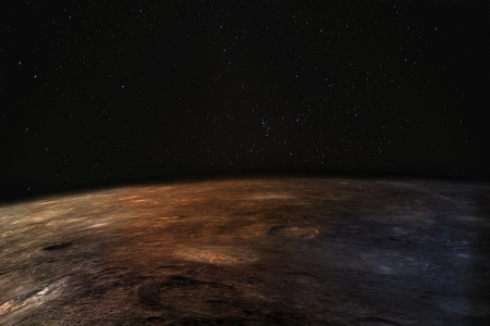 Photo for Mars - the red planet. Martian surface and dust in the atmosphere, stars above. - Royalty Free Image