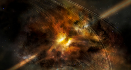 Photo for Landscape background of fantasy alien galaxy with glowing clouds and stars with lazer beam. The elements of this image furnished by NASA. - Royalty Free Image