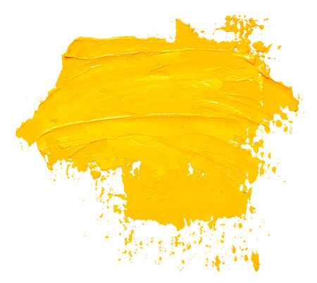 Illustration for Textured yellow oil paint brush stroke, isolated on white background. EPS10 vector illustration. - Royalty Free Image