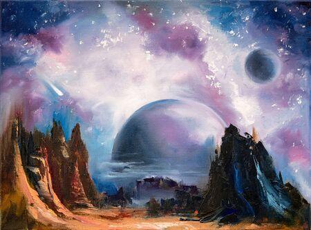Foto de Space alien landscape, hand drawn oil painting. - Imagen libre de derechos