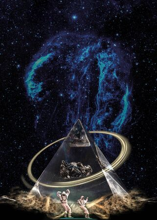 Photo pour Esoteric pyramid in clouds under the starry galaxy with ring and two figures. - image libre de droit