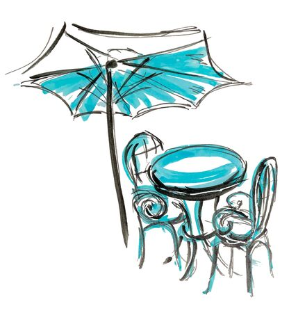 Illustration pour Bistro round table with open umbrella tent and two chairs hand drawn marker sketch vector illustration. - image libre de droit