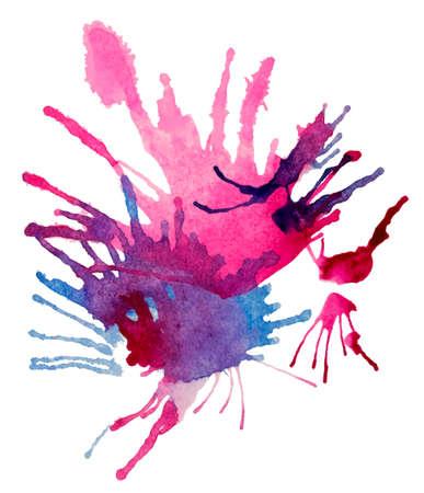 Illustration pour Realistic burst of a vivid purple and blue paints. Abstract transparent watercolor firework. White background. - image libre de droit