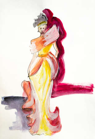 Foto per Watercolor hand drawn painting with a woman in yellow dress on the podium - Immagine Royalty Free