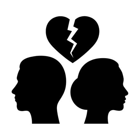 Illustration for Woman and man on a background of broken heart. - Royalty Free Image