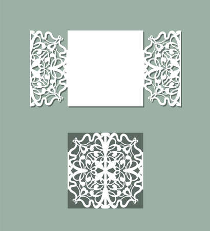 Illustration for Laser cut panel design. Floral design wall decor. Vector template for cutting. Invitation card. - Royalty Free Image
