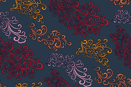 Illustration for Doodle pattern. Vector illustration hand drawn. Thin line drawing. Swirls seamless background pattern , oriental style. Vector - Royalty Free Image