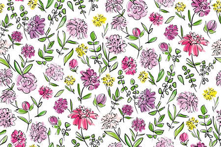 Illustration pour Floral seamless background pattern. Colorful spring flowers hand drawn, vector. Spring summer. Fabric swatch, textile design,wrapping, paper - image libre de droit