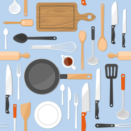 KItchen tools seamless pattern with kitchenware equipment on light blue pastel background