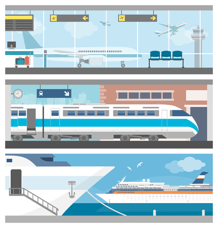 Transportation and travel set: airport with airplanes, a train at the railway station and a cruise ship sailing