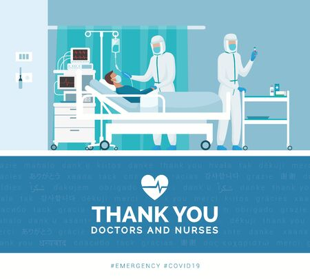 Illustration for Thank you doctors and nurses working in the hospitals and fighting the covid-19 outbreak - Royalty Free Image
