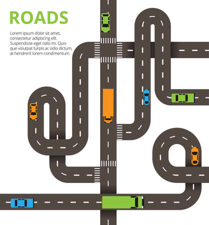Illustration for Roads junctions concept. Vector illustration with winding roads - Royalty Free Image