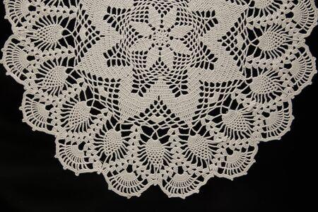 Photo pour white lace on black background, crochet - image libre de droit