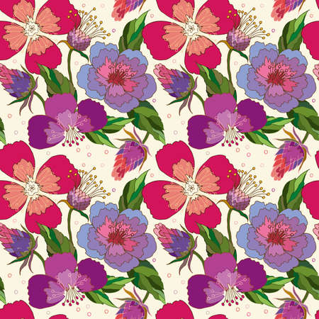 Illustration pour seamless pattern of poppy and Thistle flowers on a beige background - image libre de droit