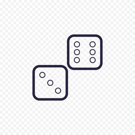 Dices line icon casino game. Cubes thin linear signs for lucky game. Outline concept for websites, infographic, mobile app.