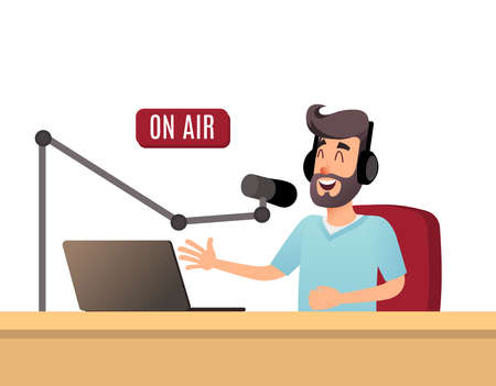 Illustration pour The radio presenter is talking on the air. A young radio DJ in headphones is working on a radio station. Broadcasts flat design vector illustration - image libre de droit