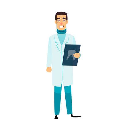 Dentist flat cartoon character. Stomatologist is holding an x-ray of the tooth. Doctor with radiograph. Dentist vector healthcare, profession, stomatology and medicine concept