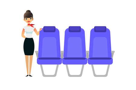 Ilustración de The stewardess is waiting for the passengers. Flight attendant female stands near the seats. Vector flat colorful illustration of blue seat. Cartoon interior airplane seats. - Imagen libre de derechos