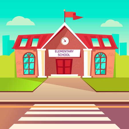 Illustration pour Elementary school flat vector buildung. Back to school cartoon background. Crosswalk before schoolhouse - image libre de droit