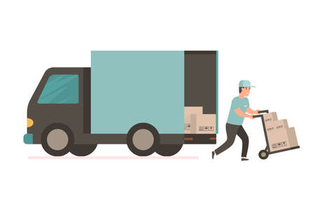 Ilustración de Courier provides free delivery of goods or postal parcels to the address. Man with cardboard boxes. Vector illustration in flat style. Delivery service van - Imagen libre de derechos