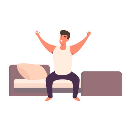 Illustration pour Cartoon man happy waking up in the bed rising hands. Full of energy cheerful guy doing morning gymnastics - image libre de droit
