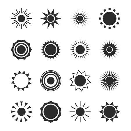 Illustration pour Sun silhouette icon set. Summer circle shape. Heat - image libre de droit