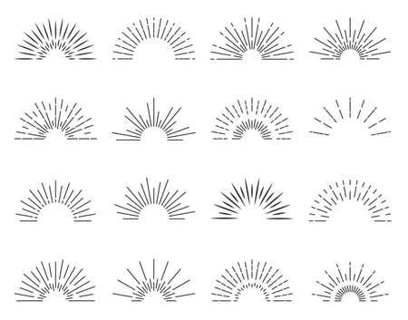 Illustration pour Sunburst sun ray. Vector burst sunshine logo. Sunrise round emblem. Sunbeam radial retro shine. - image libre de droit