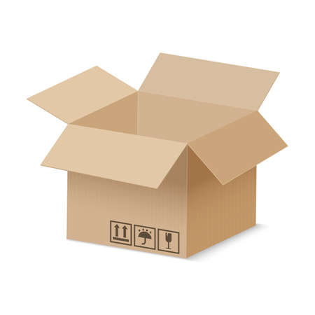 Illustration pour Open cardboard box. Brown vector carton delivery package. Realistic vector isolated cargo container - image libre de droit