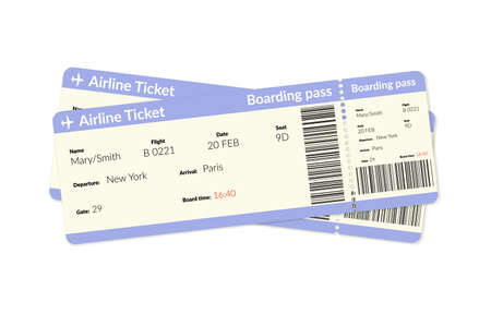 Illustration for Airplane tickets. Air plane flight boarding pass. - Royalty Free Image
