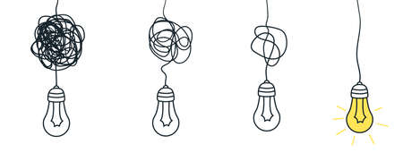 Illustration pour Confuse path. Understand simple process. Messy or busy complex. Vector idea concept with lightbulb - image libre de droit