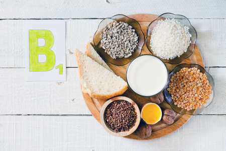 Foods containing vitamin B 1: rice, sunflower seeds, milk, peas, buckwheat, egg yolk, bread, walnuts