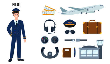 Illustration for Pilot character and set of elements for his work. Profession people concept. Vector illustrations isolated on white background. - Royalty Free Image