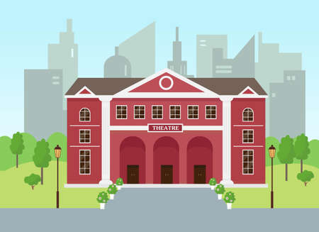 Illustration for Theatre building in modern city. Opera theatre exterior. - Royalty Free Image