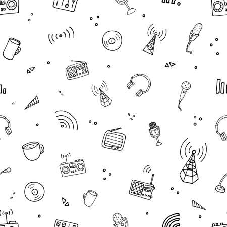 Illustration pour World Radio Day pattern. Vector illustration of radio - image libre de droit