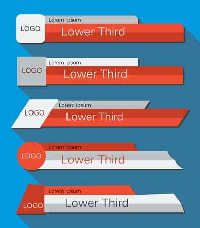 Ilustración de Set  banners Lower Third in the  red, gray and white colors on a blue  background. Vector illustration. - Imagen libre de derechos