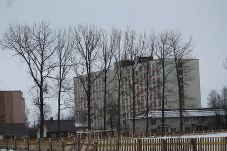 gray bulding cubical shape hide in bare trees in winter cold day