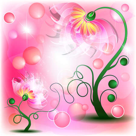 Fairy pink mum and baby flowers in abstract dreamy background