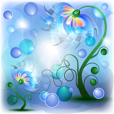 Fairy blue mum and baby flowers in abstract dreamy background