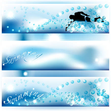 Set of 3 swimming banners with bubbles and water