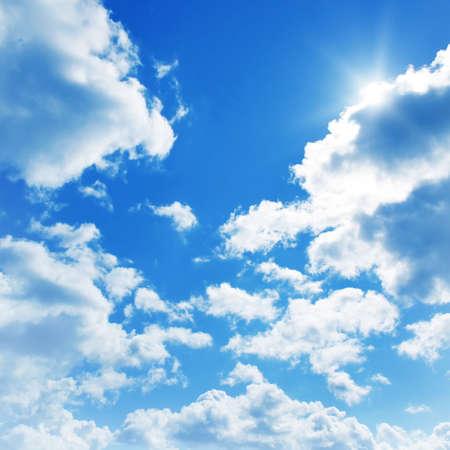 Photo pour Blue sky with clouds and sun.  - image libre de droit