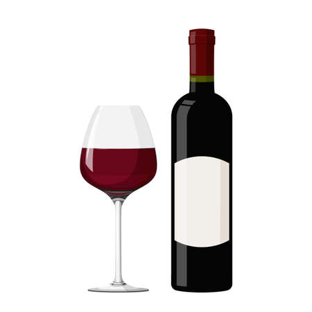 Illustration pour Wineglass with red wine vector illustration. Realistic glass with bottle. - image libre de droit