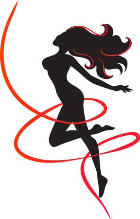 The slender girl surrounded in a red ribbon. Symbol of slenderness. Black silhouette. Vector image.