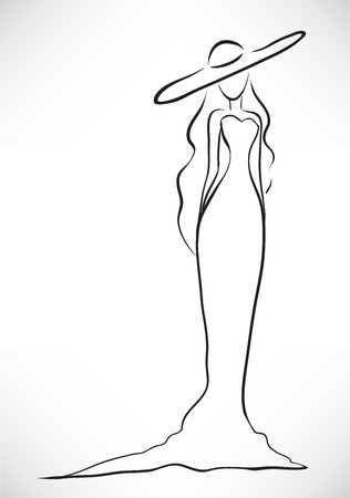 Vector picture with a silhouette of the graceful slender young woman dressed in a long dress and a big hat