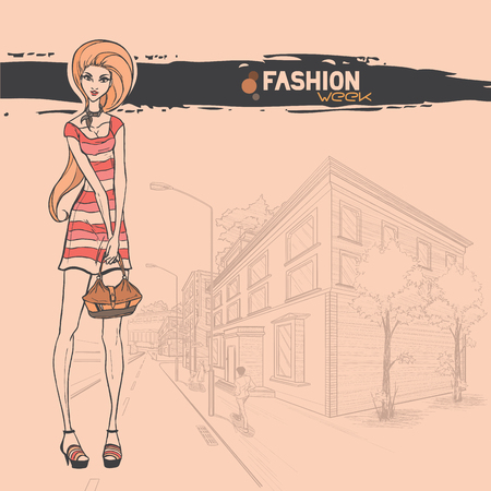 Series Urban fashion. Street panorama and slender glamour beautiful young girl. Vector image.