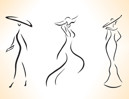 Set of stylized symbolic women drawing by lines.