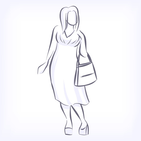 Over sized women love to wear fashionable plus size clothing. Silhouette of fat elegant fashion girl drawing by hand by lines. icon for clothing shop. Vector black and white isolated image