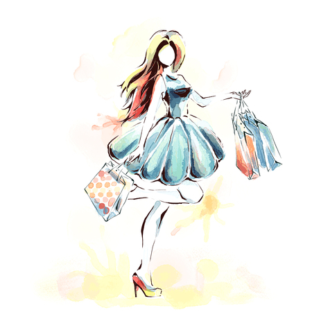 Illustration pour Watercolor painting, fashion illustration. Standing elegant woman in fashionable dress holding dozen of shopping bags. Girl at full length. Sales and shopping theme. - image libre de droit