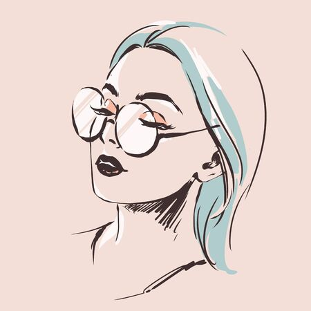 Illustration pour Fashion female portrait in spectacles. Elegant young woman with beautiful face in glasses.  Simple modern style with minimum colors. Black line art. Hand drawn vector illustration, eps10 for optics salon - image libre de droit